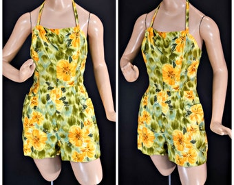 1960s Paradise Hawaii Playsuit - Yellow and Orange Hibiscus Flowers - 32 Inch Waist