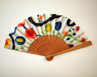 Handpainted Silk hand fan-Wedding hand fan-Giveaways-Bridesmaids-Spanish hand fan- Style Miro-14 x 7.5 inches (35 cm x 19 cm)