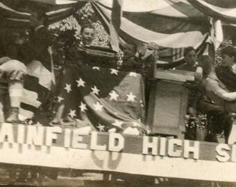 vintage photo 1920 Plainfield High School Float 4th July Teenage Boys Flag Draped Snapshot