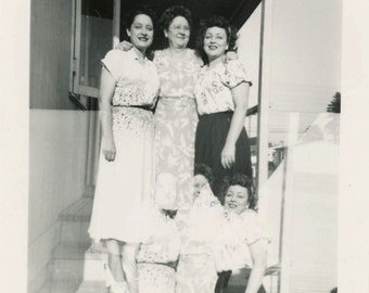 vintage photo 1949 Mid Century Young Women Trio Double Exposure Abstract square snapshot photo