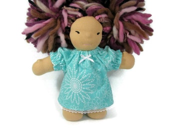 7, 8 inch chubby Waldorf doll flannel nightgown in teal aqua and white flannel, doll nightgown
