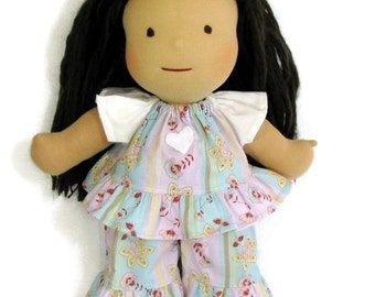 15 inch Waldorf doll clothes, pink purple boho ruffle top and ruffle pants for your doll