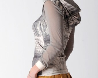 Hooded grey top, Light grey womens top with knit print, Grey jersey top with hood and small shoulder caps, size S