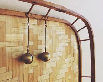 locket earrings brass orbs