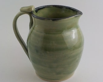 Stoneware Pitcher - Handmade Ceramic Pouring Vessel - Beverage Server - Pottery Table Vase - Ready to Ship - Celadon Green/ Black Rim  s468