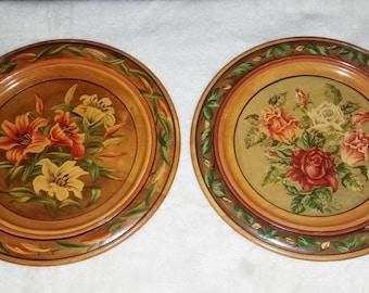 Vintage Set Of 2 Large WOODEN HAND PAINTED Floral  Hanging Plates