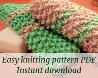 washcloth knitting pattern - easy - knitting pattern - instant download
