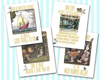 Where the Wild Things Are Party SIGNS  Instant Download Let the Wild Rumpus Begin  Book sign Food Sign Treat Sign