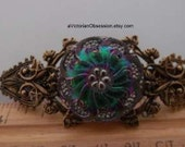 Large Vintage Victorian style Handcrafted antique gold Czech glass button barrette Barrette hair clip