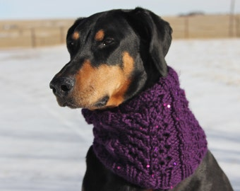 Hand knitted Snood for Dog - Winter Snood for Dog with pretty lace pattern and sequins - M to L Dog - Purple Snood - Lace - Greyhound Snood