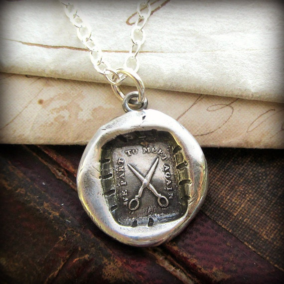 Scissors Wax Seal Necklace - We Part To Meet Again - Friendship Necklace - Scissors Necklace - Irish Blessing - I'll See You Again -E2140