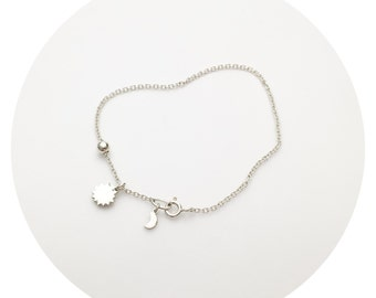 Star and Moon Bracelet   Star and Tiny Moon Charm Bracelet in Solid Sterling Silver Handcrafted by Ginny Reynders