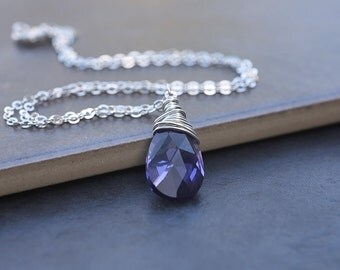 Tanzanite Swarovski Crystal Briolette, Lilac Necklace, Wirewrapped Necklace, Purple Necklace