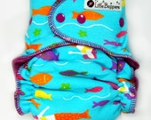 Custom AI2 Cloth Diaper - Made to Order All in Two - Mermaids - You Pick Size and Style - Custom Cloth Nappy - Ocean Sea Life Fish Mermaids