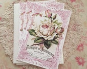 French White Rose Notecards - Paris Postcard Flat Notes, Rose, Moss Green - Set of 3 Notes