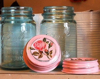 two vintage ball blue pint size perfect mason canning jars with shabby chic pink glitter zinc caps and rose decals cottage upcycle home