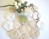 15 Rolled Rosettes Fabric Flowers - Wholesale, Tea Stained, White, Lace Flowers, Weddings, Anniversaries, Hair Clip, Sashes, Purses