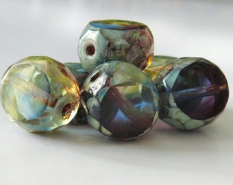 Picasso Tri-Color Czech Glass Bead 12mm Faceted Table Cut Coin : 6 pc 12mm Amethyst Sapphire Jonquil Bead