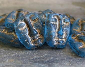 Czech Glass Bead Matte Aqua 13mm Mask Bead : 6 pc Blue Mask Bead