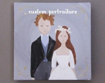 custom wedding portrait   original painting   art   couple portrait   engagement portrait   wedding   bridal portrait   anniversary   family