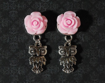"""What a Hoot Pink Rose Owl Plugs - 4g, 2g, 0g, 00g, 1/2"""""""