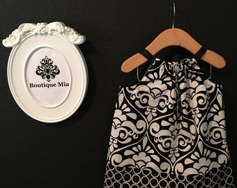 READY to MAIL - Pillowcase Dress or Top - Damask - Will fit Size 6-12 month up to 2T - by Boutique Mia