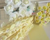 Vintage / Millinery Floral Sampler / Fabric Flowers / Cotton Roses / Lily of the Valley & Forget Me Nots / Petite Posies / Yellows