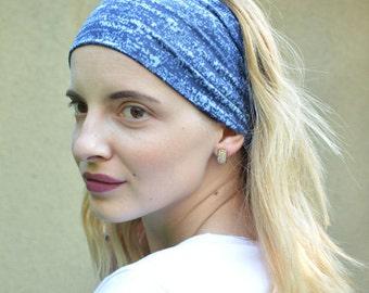 Blue Headband, Womens Blue Headband, Blue Head Band, Navy Headband, Navy Blue Headband, Stretch Headband, Stretchy Headband, Hairband