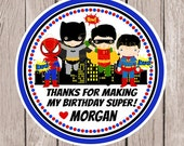 Superhero Birthday Party Favor Tags or Stickers / Spiderman, Batman, Robin and Superman / Choose Skin Color / Set of 12