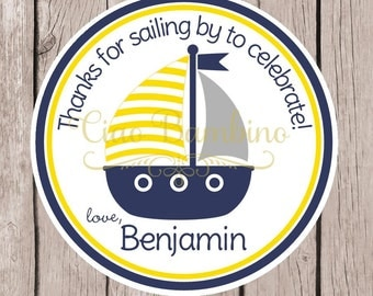 Sailboat Birthday Party Favor Tags or Stickers / Personalized Sailboat Stickers or Tags in Navy Blue, Yellow & Gray / Set of 12 - 0030