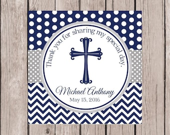 PRINTABLE Baptism Favor Tags / Navy Blue and Gray Tags for Christening, Communion, Baby Dedication, Confirmation / You Print