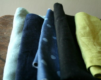LINEN, WOOL + COTTON fabric / remnants / 10 pieces / polka dot / metallic dots / black italian wool