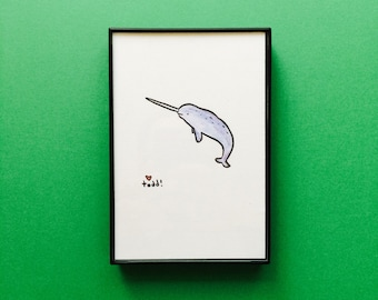 Art, Narwhal, 4 x 6 inch Print, ink and crayon drawing