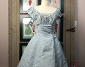 1950s party dress 50s beaded dress size medium Vintage mad men dress ice blue formal
