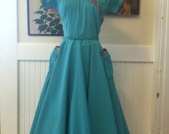 1950s dress Gay Gibson dress seing dress full skirt dress rockabilly dress size medium vintage dress