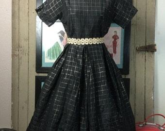 Fall sale 1940s dress black dress 40s dress full skirt dress box pleated dress taffeta dress 1950s dress black and gold plaid
