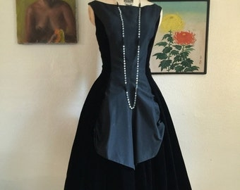 1950s dress velvet dress party dress cocktail dress size medium suzie perette black dress