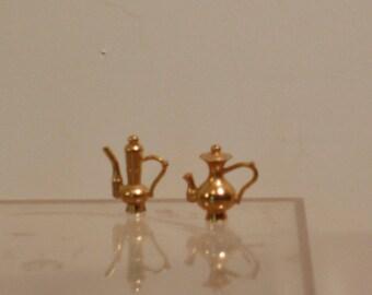 Tiny miniature brass urns pitchers