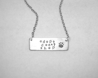 Mutt Necklace-Adopt Don't Shop-Paw Print Necklace-Vegan Jewelry-Gift-Birthday-Anniversary-Rescue Dogs-Pet Adoption-Eco Friendly