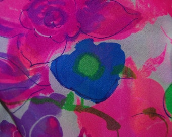 OOP fabric sheer chiffon dance costume pink flower screen print