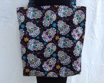 Tote Bag Made From Dia De Los Muertos Black Skull Fabric Day of the Dead