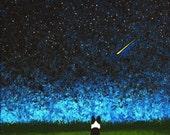 Border Collie Dog Outsider LARGE Folk Art Print Todd Young STAR GAZING