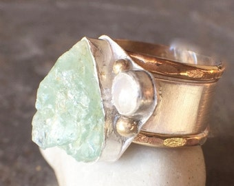 Mothers Day Sale - Raw Aquamarine Sterling Silver Gold Filled Rainbow Moonstone Wide Band Stacking Rings US Size 6.5