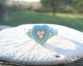Antique Diamond Ring, Old Mine Cut Diamonds with Robin's Egg Blue Enamel, Sweetheart Ring, 18K Gold, Very Charming, Victorian Era