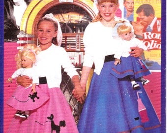 """Butterick 5658 Girls & 18"""" Doll Clothes Poodle Skirt Sewing Pattern Out of Print UNCUT"""