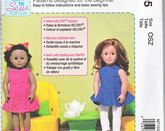 "McCalls 7105 American Girl Doll Clothes 18"" Dress Leggings Sandals Chair Pillow Table Easy Sewing Pattern NEW"