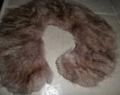 "vintage fur collar 3x13"" brown shades"
