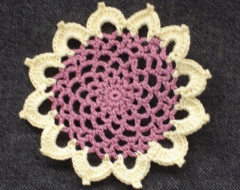 """New Handmade Crocheted """"83"""" Coaster/Doily in Dusty Rose and Maize"""