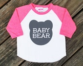 Baby Bear Heather Neon Pink Raglan Sleeve Baseball Shirt Infant and Kids Sizes - Expecting, New Baby, Matching, Family