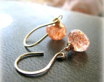 Sunstone Gold Earrings, Orange Gold Filled Dangle Drop Earrings, Joy Symbol